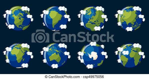 Un conjunto de globos que muestran al planeta Tierra con diferentes continentes - csp49975056