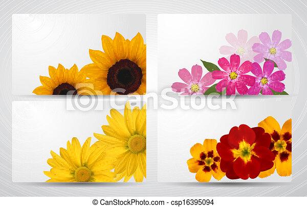 Un conjunto de banderas con diferentes flores coloridas. Ilustración de vectores. - csp16395094