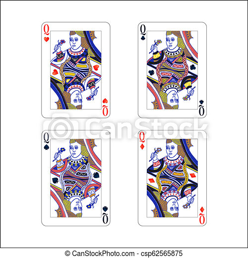 Un juego de reinas jugando a cartas con diferentes trajes como diamantes, clubes, corazones y espadas aisladas en blanco - csp62565875