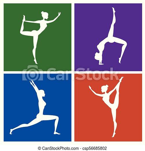 Fitness o postura de yoga silueta puesta en diferentes colores - csp56685802