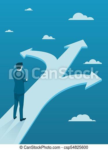 Hombre de negocios tomando decisiones de tres maneras diferentes. - csp54825600