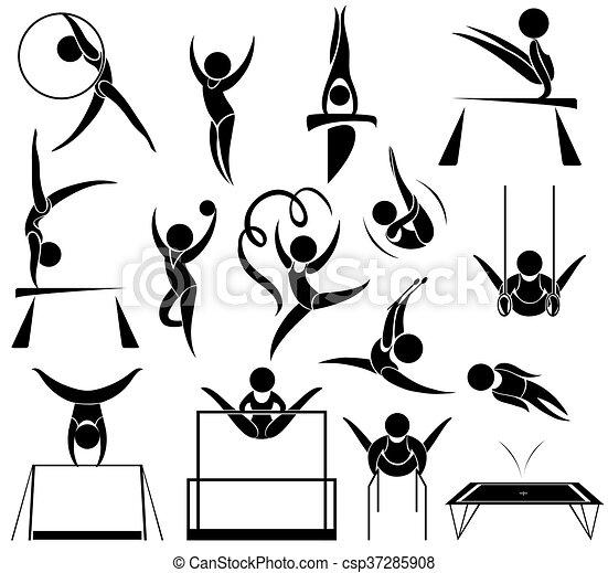 diferente, desporto, athelte, ícone, esportes - csp37285908