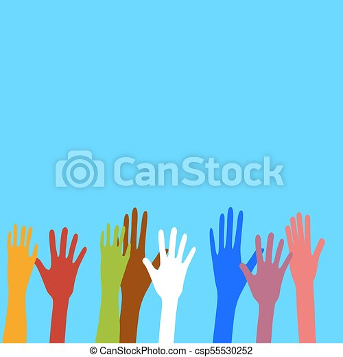 diferente, diversidade, étnico, cultural, colors., mãos - csp55530252