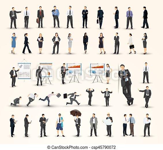 Colección de gente de negocios ilustraciones en diferentes poses - csp45790072
