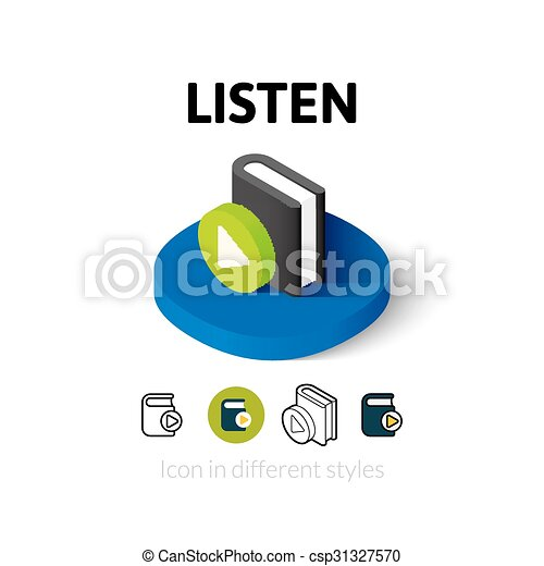 diferente, escutar, estilo, ícone - csp31327570