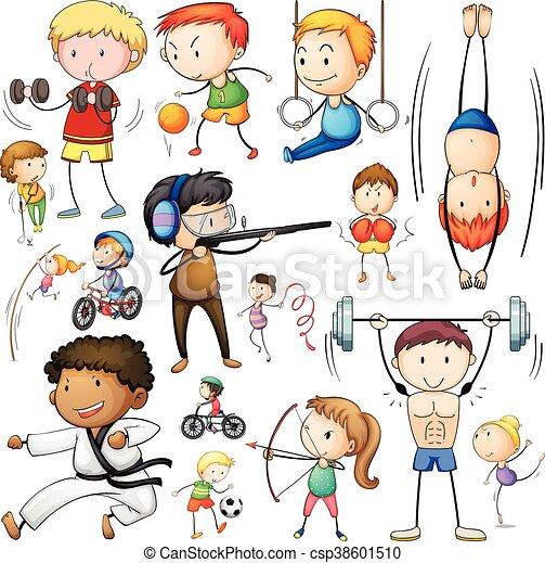 diferente, esportes, tipos, pessoas - csp38601510