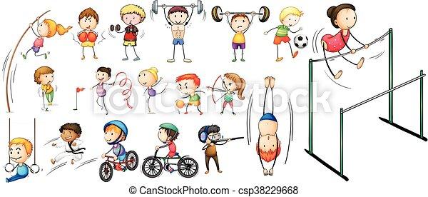 diferente, esportes, tipos, pessoas - csp38229668