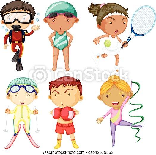 diferente, esportes, tipos, pessoas - csp42579562