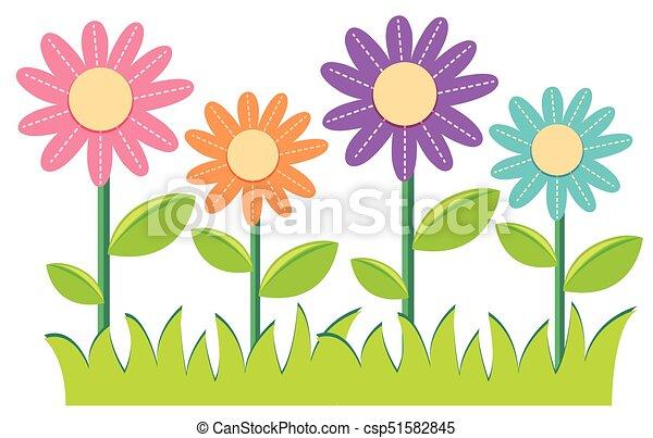 Diferente Flores Colores Ilustracion