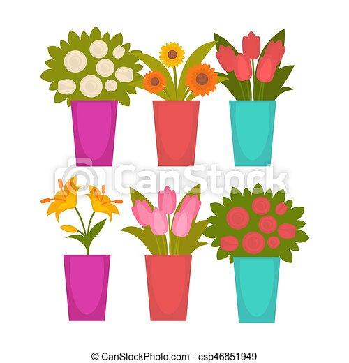 Diferente Flores Coloridos Vasos Plantas Ilustracao Vetorial