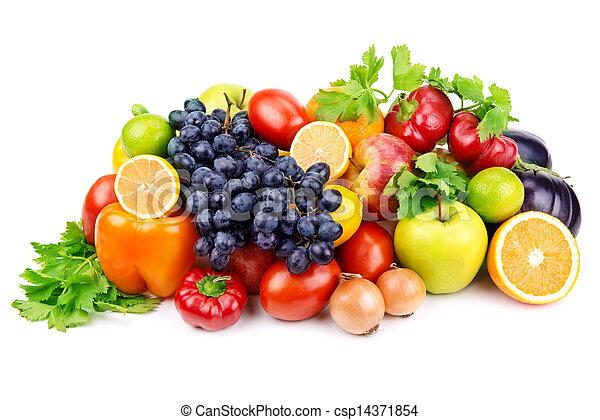 Una serie de diferentes frutas y verduras de fondo blanco - csp14371854