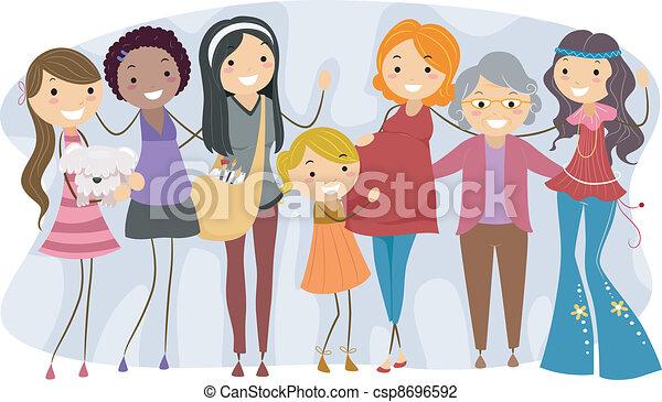 diferente, gerações, mulheres - csp8696592