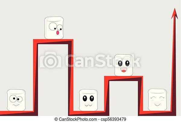 Las caras de los dibujos se sientan en diferentes ramas rojas del mismo gráfico - csp56393479