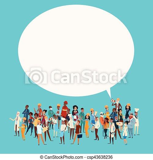 diferente, grupo, red, gente, bandera, empleados, mezcla, carrera, charla, comunicación, burbuja, trabajadores, ocupación - csp43638236