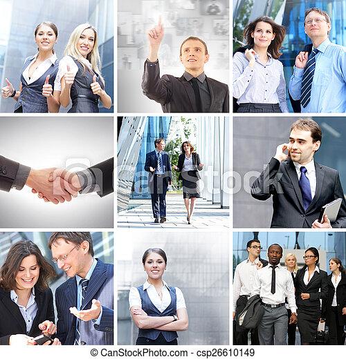 Collage de negocios hecho de diferentes elementos - csp26610149