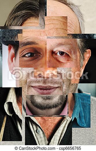 Cara humana hecha de diferentes personas, collage de concepto artístico - csp6656765