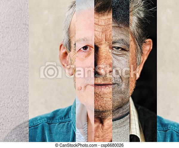 El rostro humano masculino hecho de varias personas diferentes, concepto artístico collage vertical - csp6680026