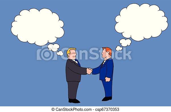 Dos hombres estrechando la mano mientras sostenían ideas diferentes - csp67370353