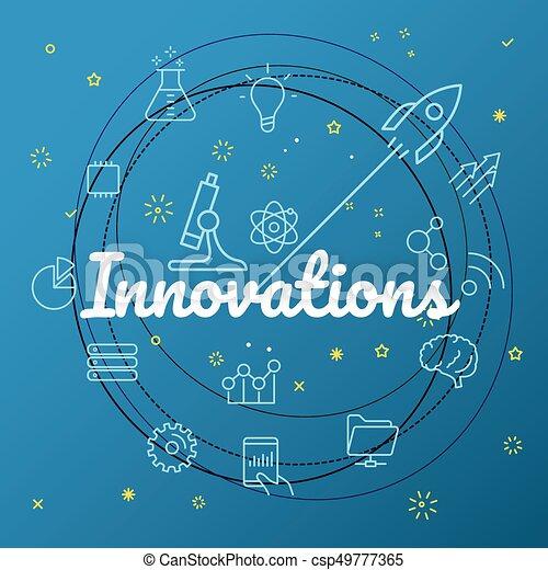 Un concepto de innovación. Diferentes iconos de línea delgada incluido - csp49777365