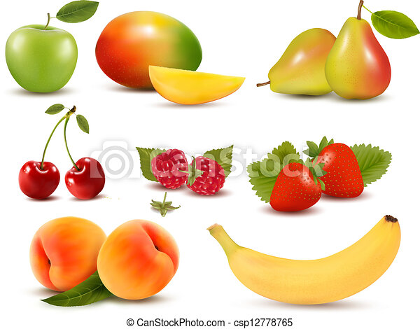 diferente, jogo, grande, berries., fruta, vector., fresco - csp12778765