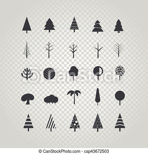 diferente, jogo, silueta, árvore, isolado, vetorial, transparente - csp43672503
