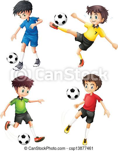 Cuatro jugadores de fútbol con diferentes uniformes - csp13877461