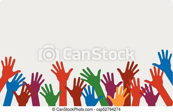 Manos arriba de diferentes colores - csp52794274
