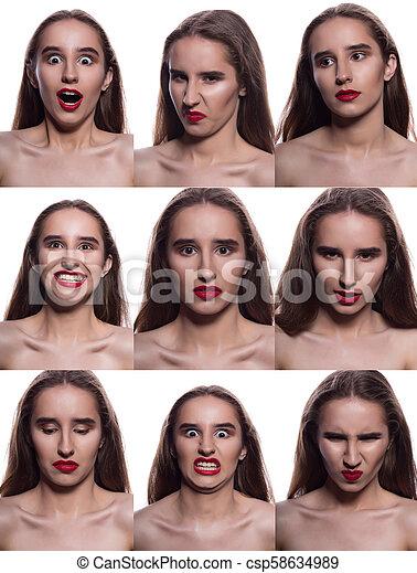 Collage de bella mujer morena con diferentes emociones. Mujer con labios rojos posando en un fondo blanco - csp58634989