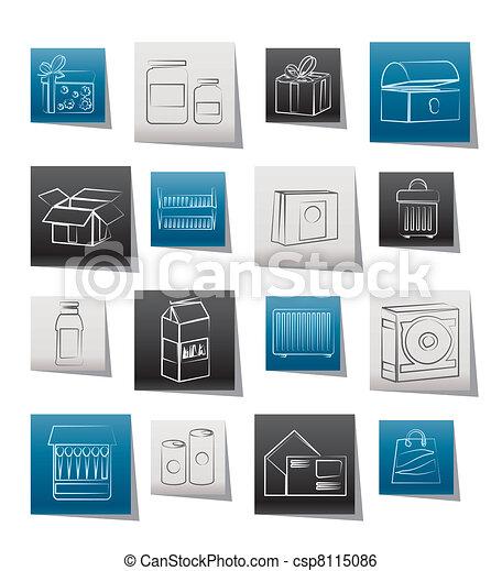 diferente, pacote, tipo, ícones - csp8115086