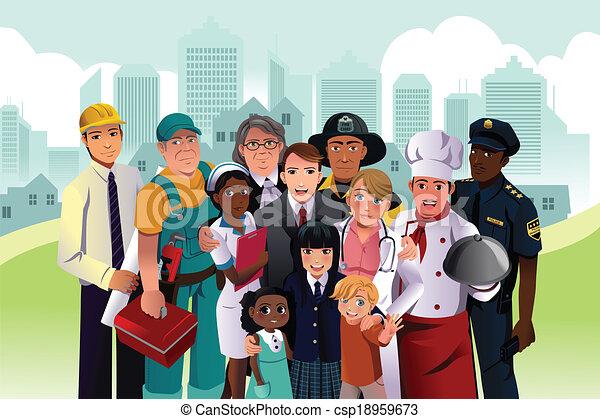 diferente, pessoas, ocupação - csp18959673