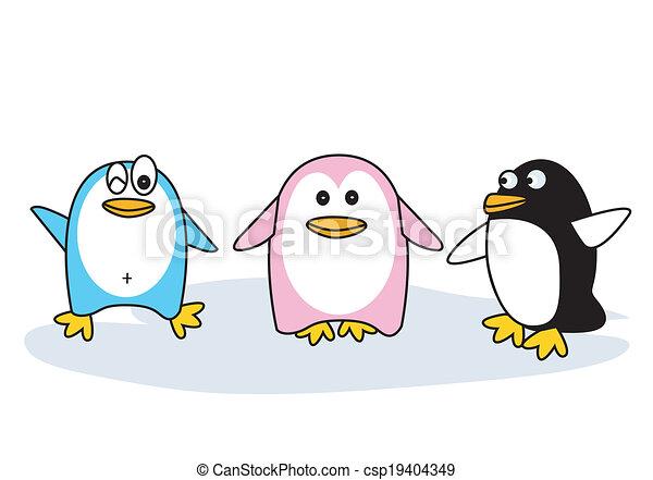 Diferente, pingüinos, postura, color, tres, vector.