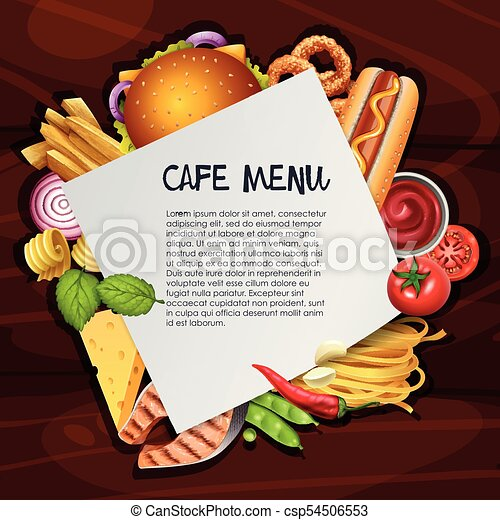 La plantilla de fondo del café con diferentes tipos de comida - csp54506553