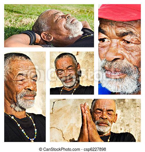 diferente, portraits., colagem, -, africano, homem sênior - csp6227898