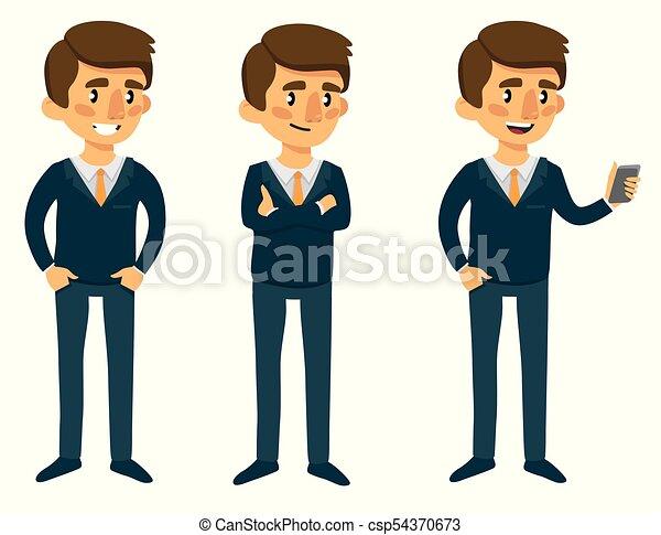 Hombre de dibujos animados de traje en diferentes poses - csp54370673