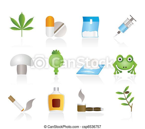 diferente, tipo, droga, ícones - csp6536757