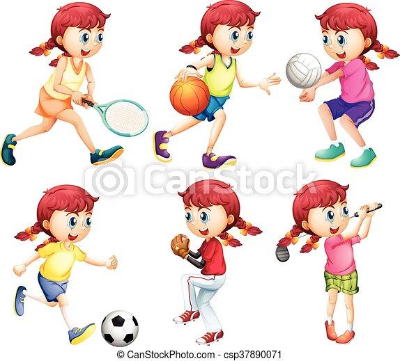 diferente, tipo, menina, esportes - csp37890071