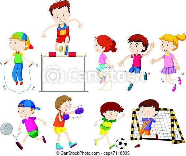 diferente, tipos, crianças, esportes - csp47118333