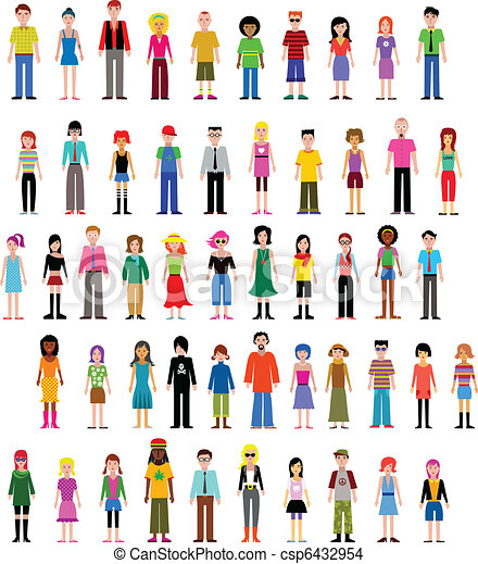 diferente, vector, colección, gente - csp6432954