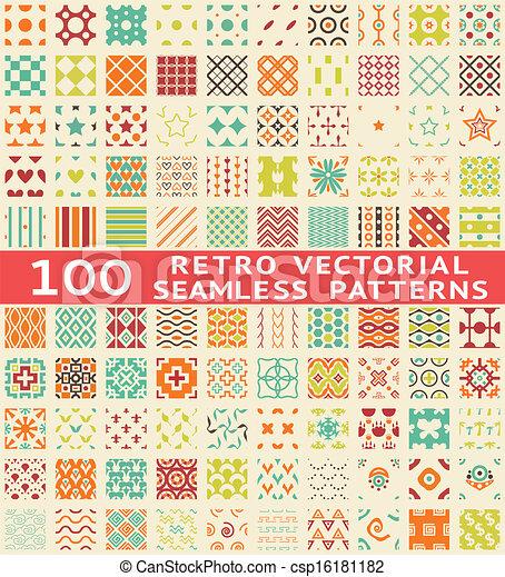 diferente, (with, patrones, seamless, swatch)., vector, retro - csp16181182
