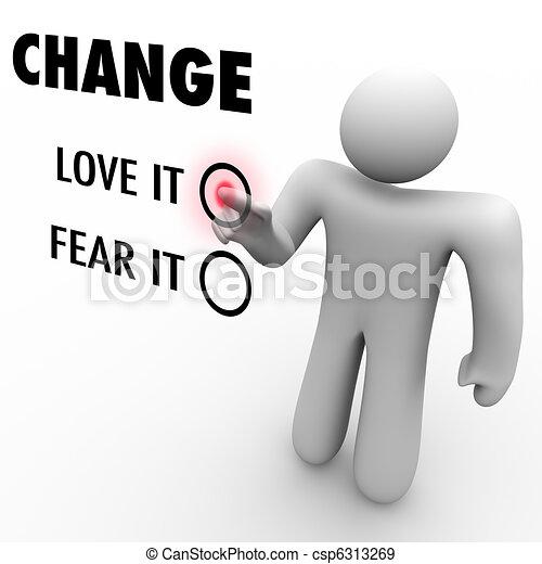 différent, amour, choses, -, ou, embrasser, vous, peur, changement - csp6313269