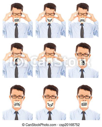 différent, business, exposition, négatif, expression faciale, homme - csp20168752