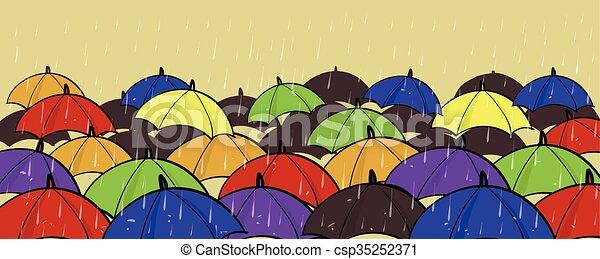 différent, concept, foule, coloré, espace, beaucoup, unique, individualité, stand, copie, parapluies, dehors - csp35252371