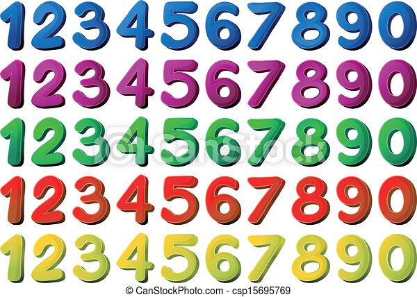 différent, couleurs, nombres - csp15695769