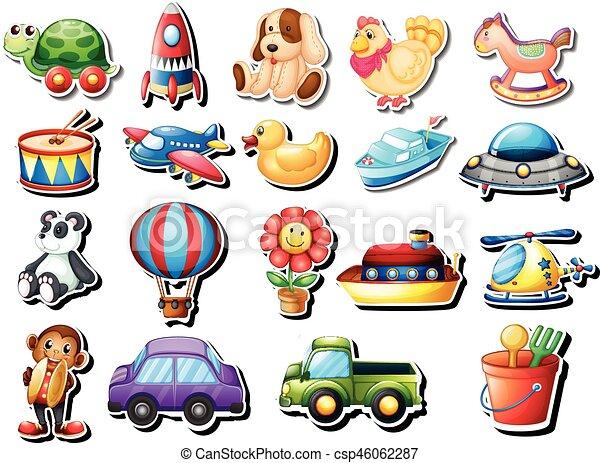 différent, ensemble, autocollants, jouets - csp46062287