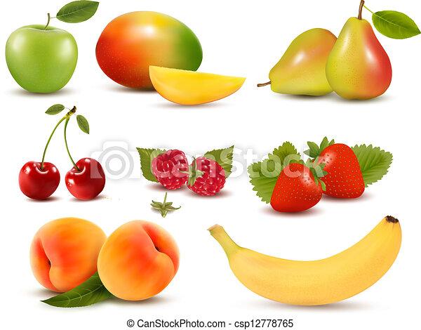 différent, ensemble, grand, berries., fruit, vector., frais - csp12778765