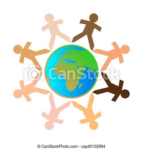 différent, globe, gens - csp45102994