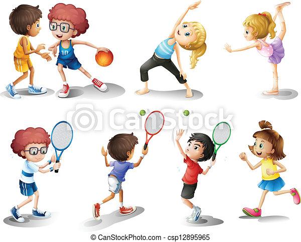différent, gosses, jouer, exercisme, sports - csp12895965