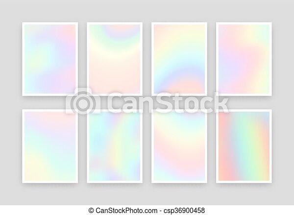 différent, holographic, arrière-plans, réaliste, couleurs, ensemble, 8, design. - csp36900458