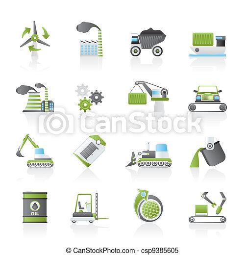 différent, industrie, espèce, icônes - csp9385605