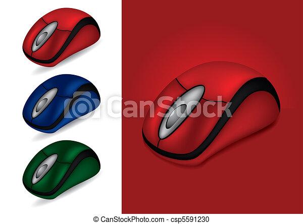 différent, informatique, -, illustration, couleurs, vecteur, souris - csp5591230